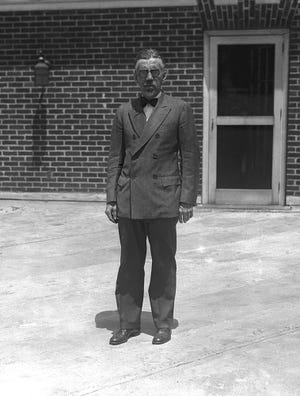 William Pelley, a vocal anti-Semite convicted of securities fraud, pictured in Asheville in 1941.