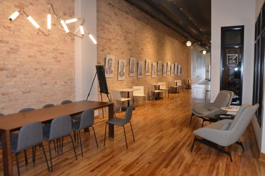 Most of the seating for new downtown cafe 32 Social, at 32 West Michigan Ave., is in the promenade area of the building, right by the coffee shop.