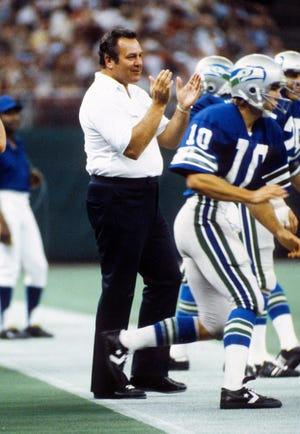Seahawks head coach Jack Patera on the sideline against the San Diego Chargers at the Kingdome. Patera, the first coach in franchise history, has died, the Seahawks announced Wednesday.