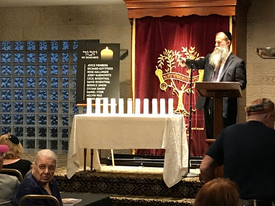 Space Coast synagogues are refocusing on security in the wake of the deadly shooting at a San Diego synagogue on the last day of Passover. Photo shows memorial service at the Chabad of the Space and Treasure Coasts following a shooting at a Pittsburgh synagogue that left 11 people dead. FILE.
