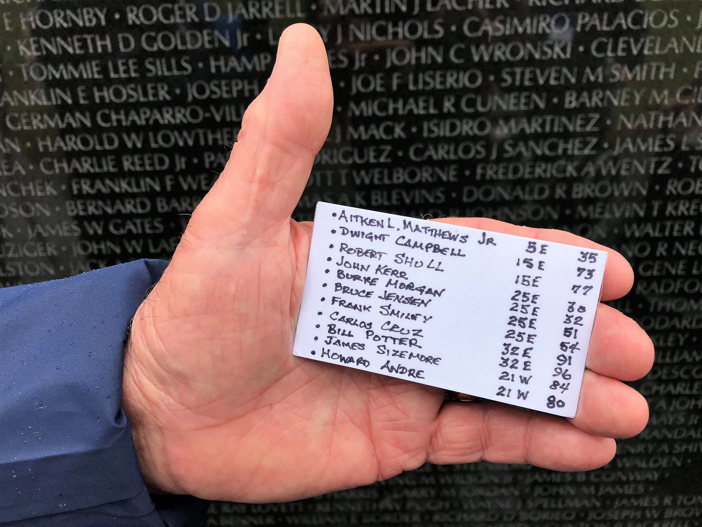 Retired Air Force Maj. George Matthews carried a reference card to locate the names of his dead brother and 10 fallen friends on the Vietnam Veterans Memorial.