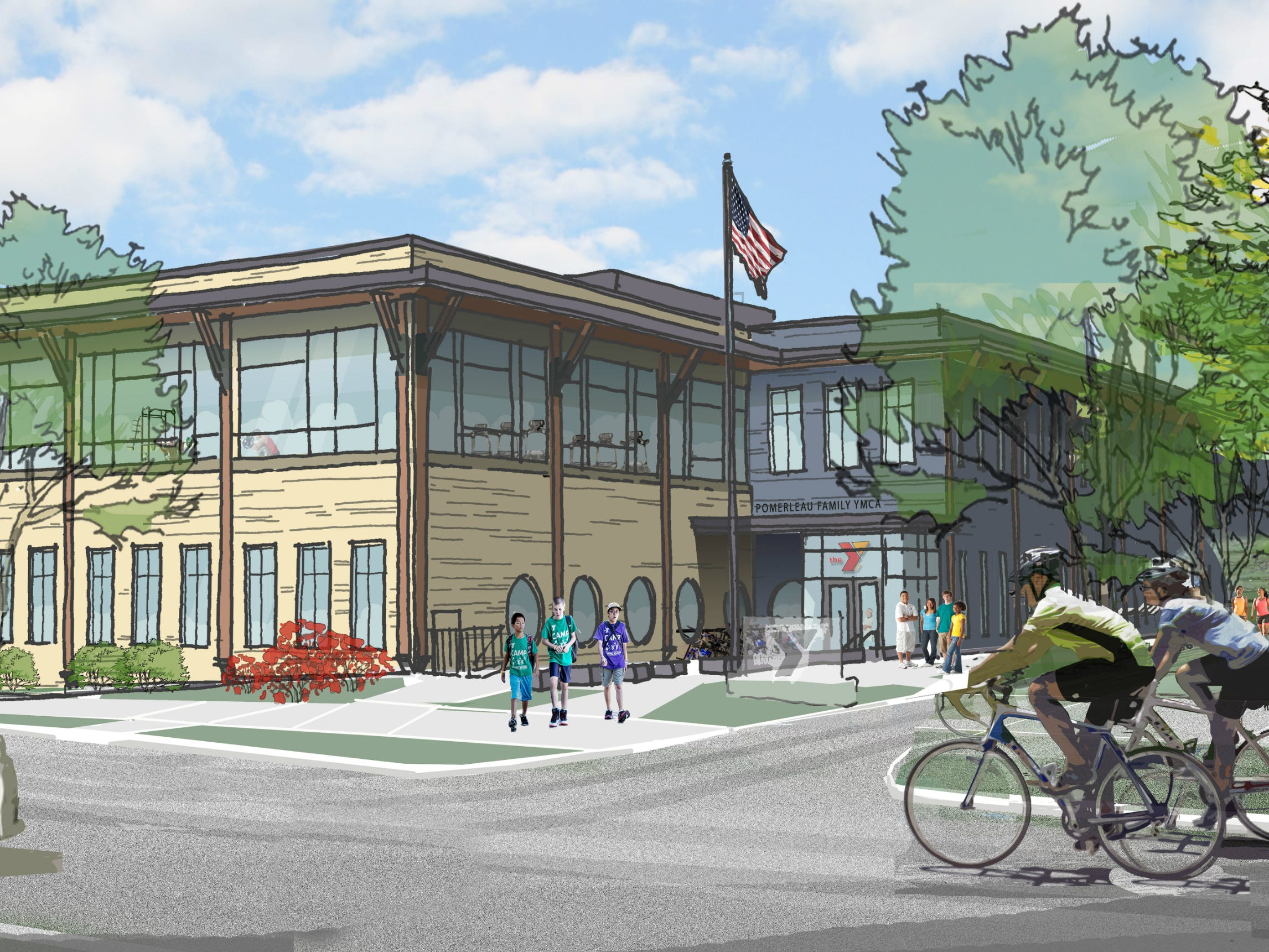 A proposed new building for the Greater Burlington YMCA, currently under construction on College Street, is seen this rendering on Oct. 31, 2018.