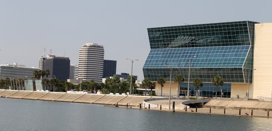 View of Shoreline Boulevard, including the American Bank Center.