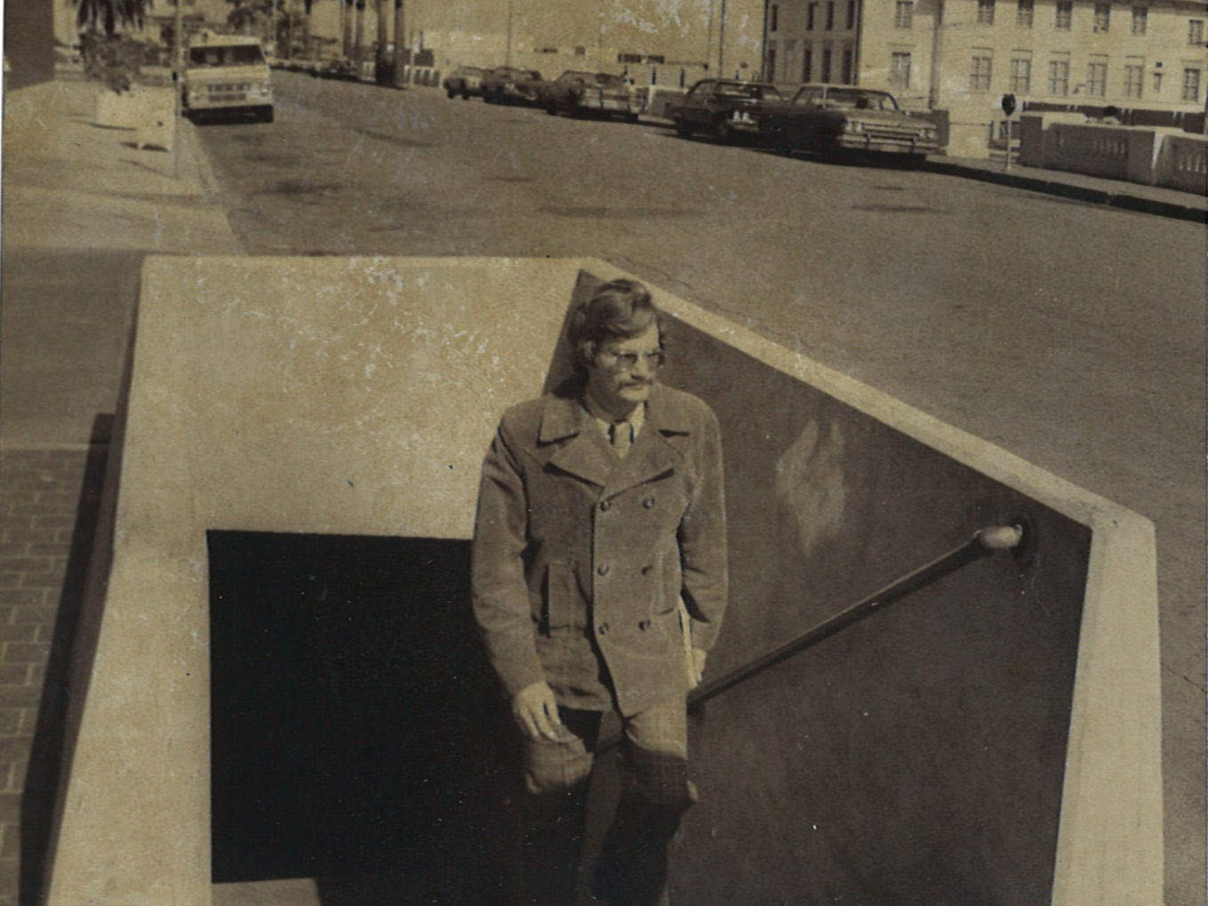 A man exits the bluff tunnel in uptown Corpus Christi  in January 1975.