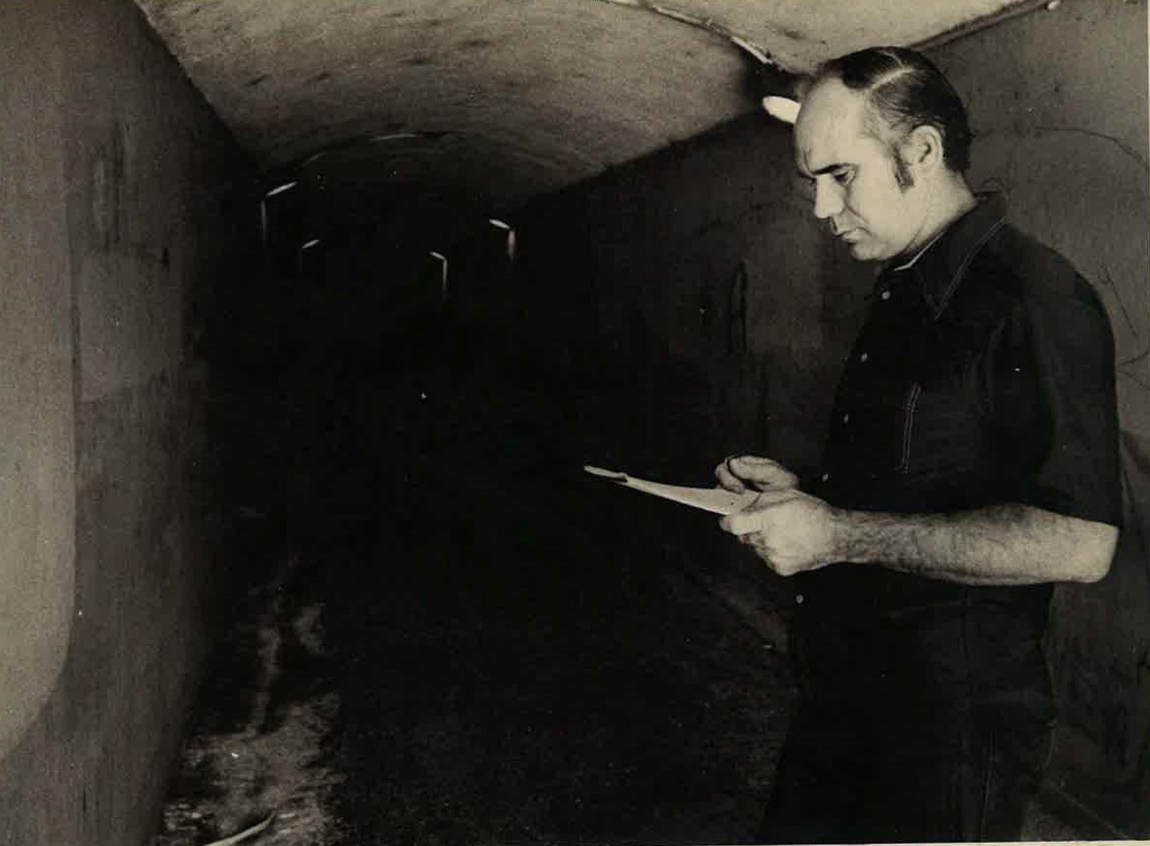 Bill Sweetland inside the bluff tunnel between uptown and downtown Corpus Christi in June 1976.