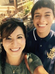 Colton Cavazos with his mother, Sally Rowsey.