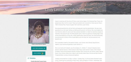 An online obituary for Cindy Louise Nichols Spears from May 6, 2018.