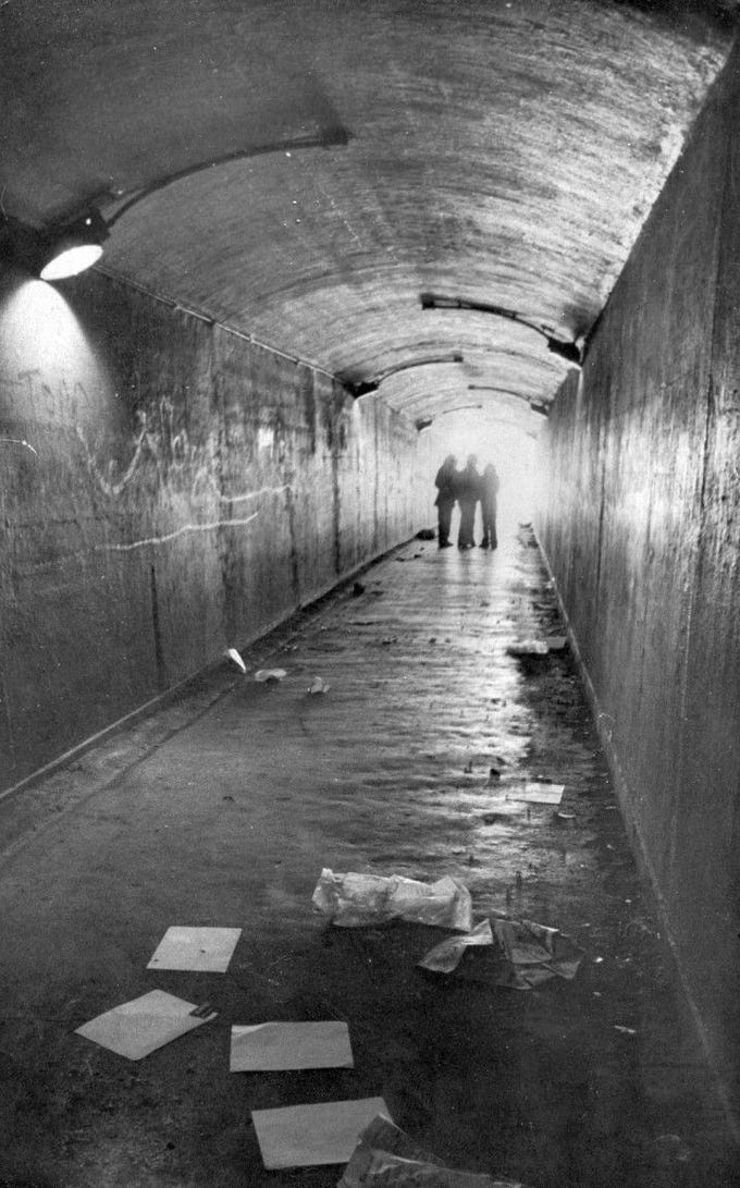 The bluff tunnel connecting dowtown and uptown Corpus Christi in 1975 when the city debated whether to keep it open or close it. The city closed it in 1977.