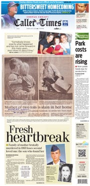 The front page of the July 14, 2013 Caller-Times featuring a story about Kathleen Suckley and her family. (1 of 2)