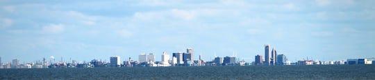 View of the skyline of Corpus Christi, taken from Naval Air Station Corpus Christi.