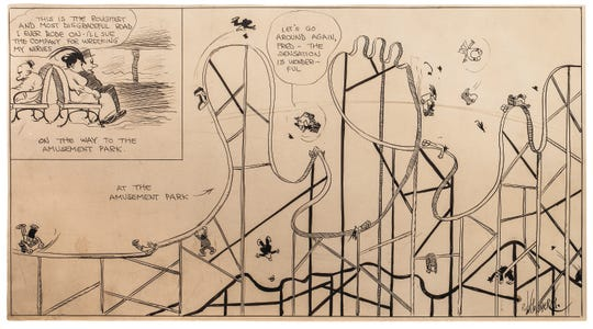 Rube (Rueben Lucius) Goldberg (1883-1970), one of the most popular and successful cartoonists of the 20thcentury. Goldberg's 'Amusement Park' was created circa 1920. It is an ink work on paper.