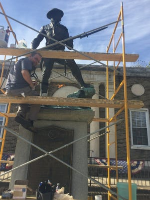 Rock Of The Marne Doughboy Statue Restoration In Burlington City Img 1859