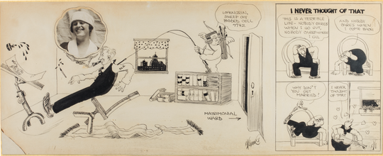 Rube Goldberg's 'I Never Thought of That (Portrait of Irma on Wedding Day),' is a 1916. ink on paper work with photograph.