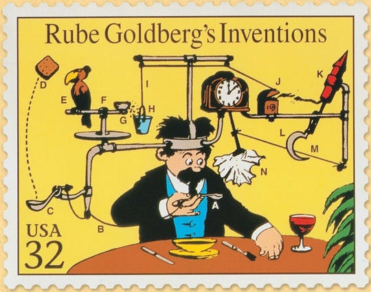 "Rube Stamp: 'Rube Goldberg's  Inventions' is a United States Postal Service stamp (included on sheet of ""Comic Classics"" stamps), date unknown."