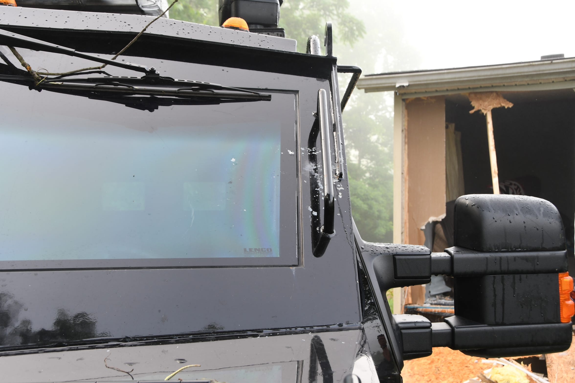 One bullet fired at Franklin County SWAT officers during a June 13 standoff at 919 Wynn Road, Piketon, struck the windshield of a BearCat armored vehicle.