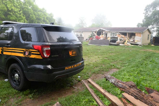 The walls of 919 Wynn Road were destroyed by a ram attached to a Franklin County SWAT armored vehicle during a roughly six-hour standoff on June 13, 2018. The holes were made to allow a better view into the home and easier access to deploy gas canisters, according to the investigative report.