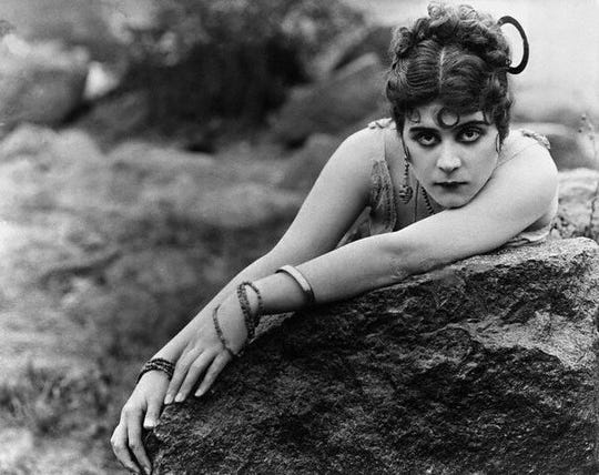 "Silent movie actress Theda Bara, from Cincinnati, beguiled audiences in the 1915 film ""Carmen."""