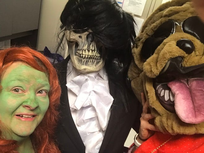 Fiona, a scary puppy and a skeleton having a bad hair day stop by Kenton County Schools on Halloween Oct. 31, 2018.