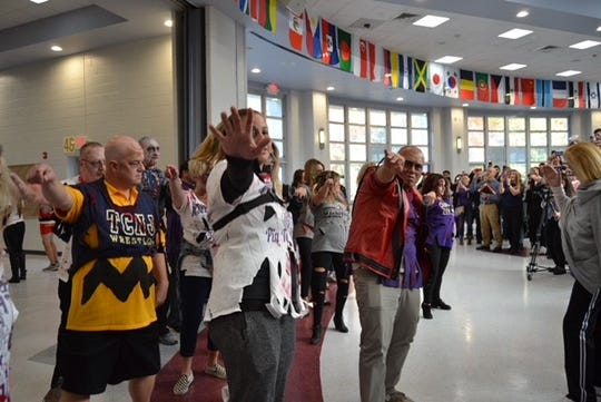 "Old Bridge High School staff members perform flash mob to Michael Jackson song ""Thriller"" on Halloween"