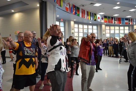 "Old Bridge High School staff members perform flash mob to Michael Jackson song ""Thriller"" on Halloween"