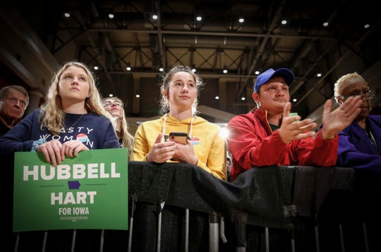 Iowa supporters of Iowa Democratic gubernatorial candidate Fred Hubbell and first district congressional candidate Abby Finkenauer gather at the front to hear them speak during a rally in Cedar Rapids on Tuesday, Oct. 30, 2018.
