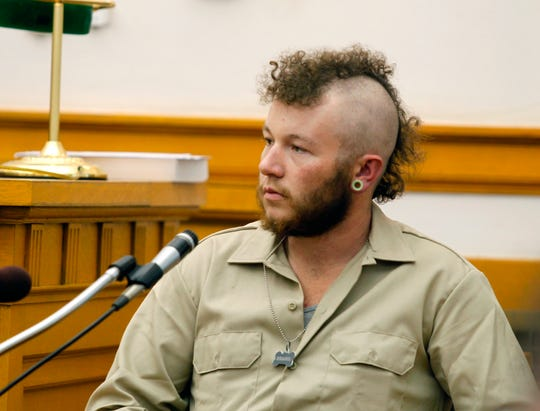 Jordan Clark testifies at trial of Zachary Koehn, Wednesday, Oct. 31, 2018, in Mount Pleasant, Iowa. Clark, a former friend of an Iowa father whose infant son was found dead and maggot-infested in a baby swing last year testified he wasn't even aware the man had a baby. Clark testified Wednesday at the trial of Zachary Paul Koehn, who's charged with murder and child endangerment in the August 2017 death of 4-month-old Sterling Koehn.