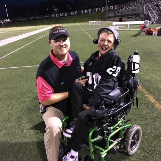 Andrew Lansink and Sam Wedig hang out together at Valley Stadium on Oct. 18.