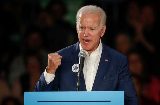 Former United States Vice President Joe Biden fires up Democratic voters during a rally for gubernatorial candidate Fred Hubbell and first congressional district candidate Abby Finkenauer during a speech in Cedar Rapids on Tuesday, Oct. 30, 2018.
