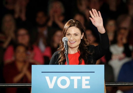 Iowa Democratic congressional candidate for Iowa's first district Abby Finkenauer speaks to supporters during a rally in Cedar Rapids on Tuesday, Oct. 30, 2018. Later former U.S. Vice President Joe Biden spoke.