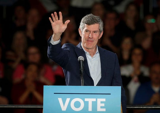 Iowa Democratic gubernatorial candidate Fred Hubbell fires up supporters during a rally in Cedar Rapids on Tuesday, Oct. 30, 2018. Later former U.S. Vice President Joe Biden spoke.