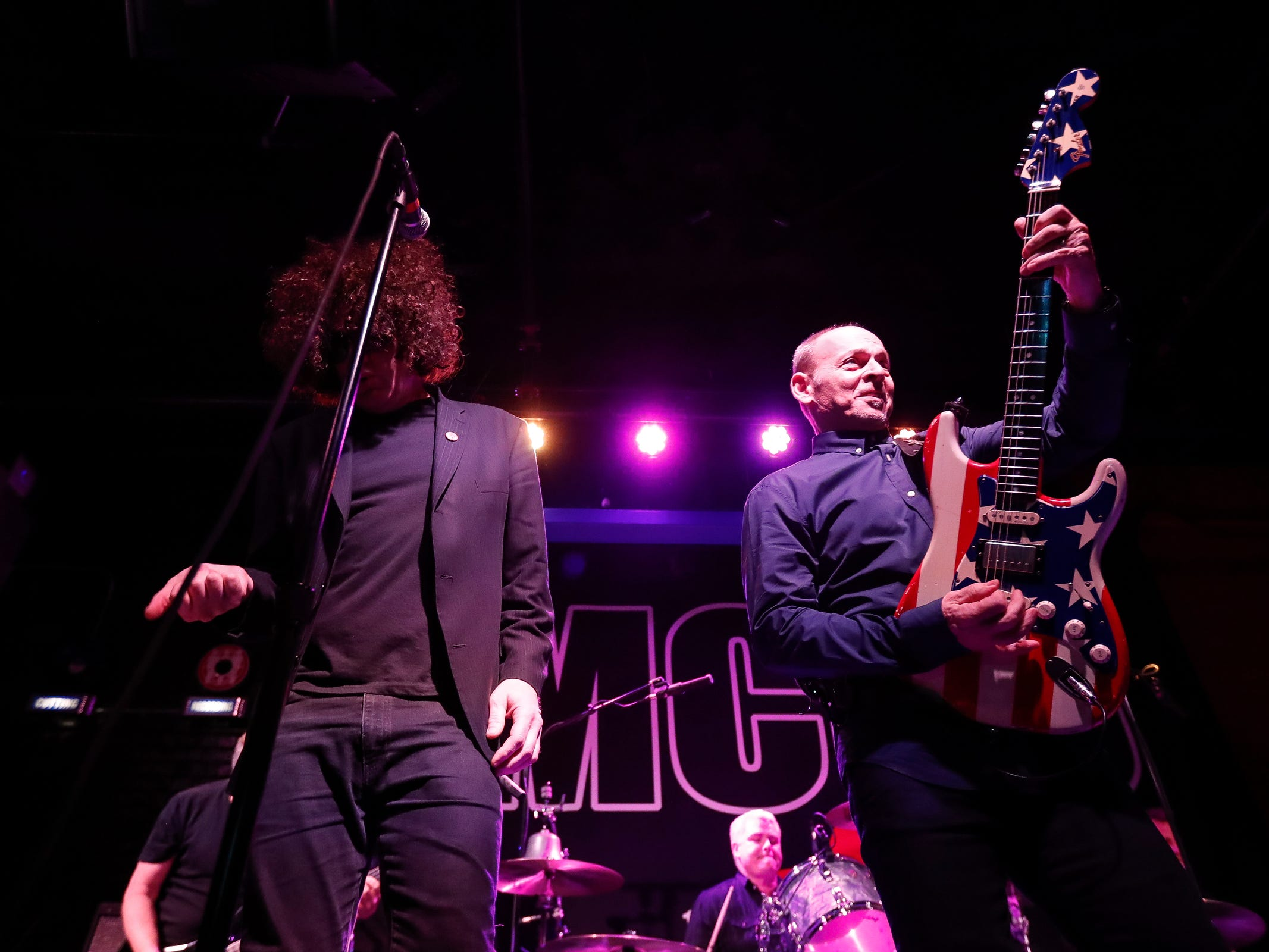 "Wayne Kramer and other musicians that made up the MC50 perform during ""Kick Out the Jams"" at Third Man Records in Detroit, Tuesday, Oct. 30, 2018."