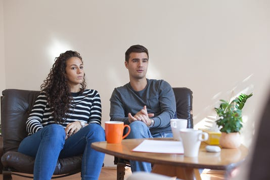 Marriage Therapy Couple Talking To Counselor