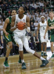 Michigan State forward Marcus Bingham Jr. plays against Northern Michigan during second half action Tuesday, October 30, 2018 at the Breslin Center in East Lansing, Mich.