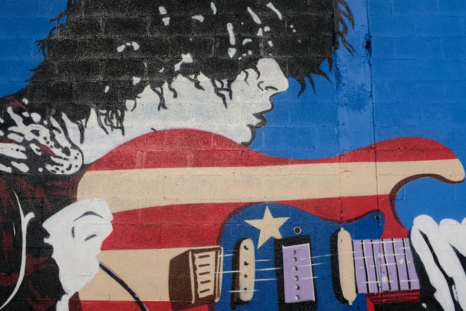 An in-progress version of the new MC5-inspired mural at the Grande Ballroom.
