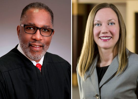 Michigan Court of Appeals Judge Kurtis Wilder, left, and Elizabeth Clement, Justice of the Michigan Supreme Court.