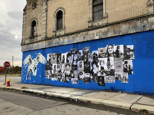 Dozens of wheat-pasted images of MC5 band members are part of a new mural on Detroit's Grande Ballroom. The images were taken from a bank of over 350 unreleased images of the MC5 taken by photographer Mike Barich in 1969 and 1970, and include guitarist Wayne Kramer, guitarist Fred (Sonic) Smith, vocalist Rob Tyner, bassist Michael Davis and drummer Dennis Thompson.