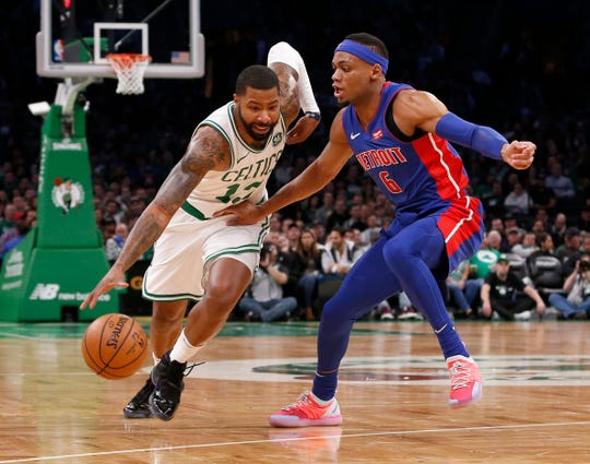 Celtics forward Marcus Morris drives against Pistons guard Bruce Brown, Oct. 30 in Boston.