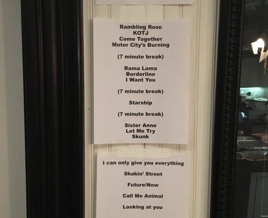"A backstage set list at the MC50's ""Kick Out the Jams"" anniversary show at Third Man Records in Detroit on Oct. 30, 2018."