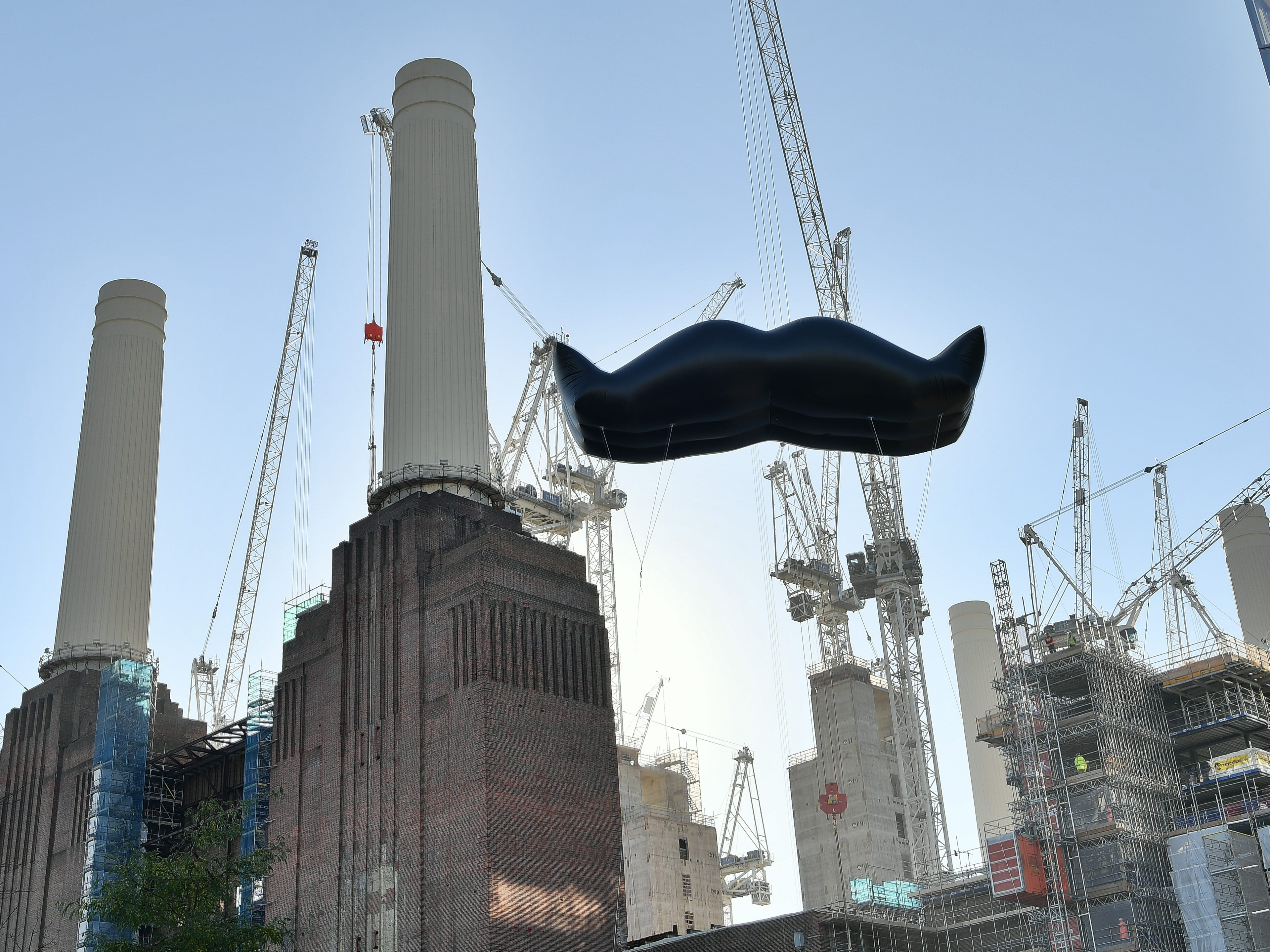 Mustaches appear across London, England as Movember launches the 2018 campaign to get men focusing on their health at Battersea Power Station on Oct. 31, 2018.
