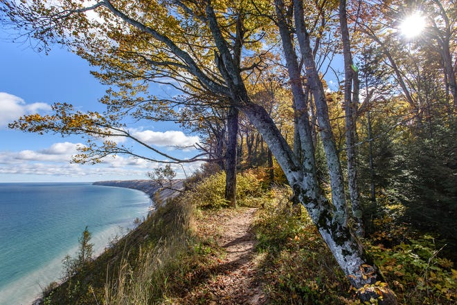 The North Country Trails are seen on a sunny fall day on Oct. 16. Grand Sable Banks can be seen in the distance,  rising some 300 feet above Lake Superior.