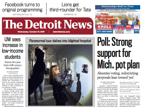 The front page of The Detroit News on Wednesday, October 31, 2018.