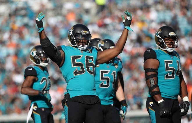 Jaguars pass rusher Dante Fowler (56) was traded to the L.A. Rams on Tuesday.