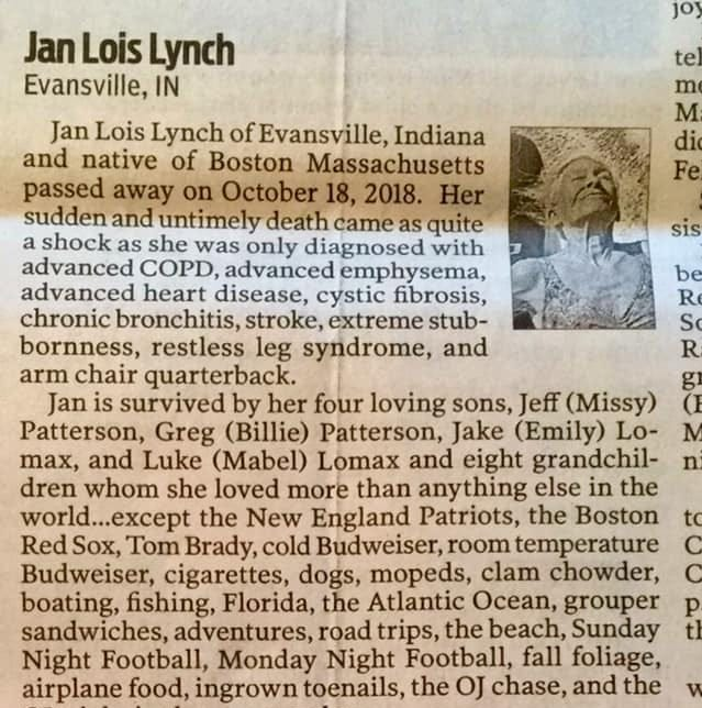 Evansville's Jan Lynch was larger than life - and her obituary shows it