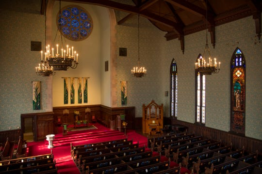 The circa 1897 Edmund Giesecke organ, completely restored by Taylor & Boody Organbuilders sits in a place of prominence in the First Presbyterian Church sanctuary.
