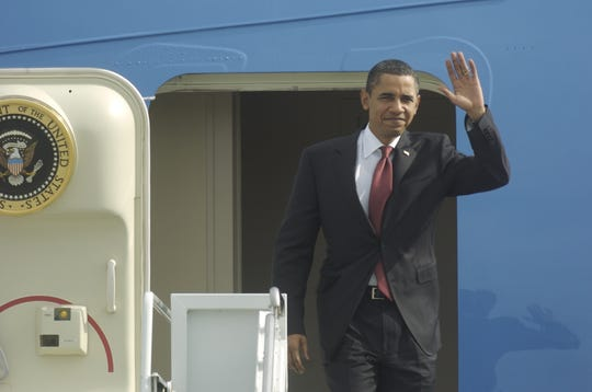 President Barack Obama arrives at Sarasota-Bradenton International Airport for his visit to Arcadia on Tuesday, October 27, 2009, in Sarasota.