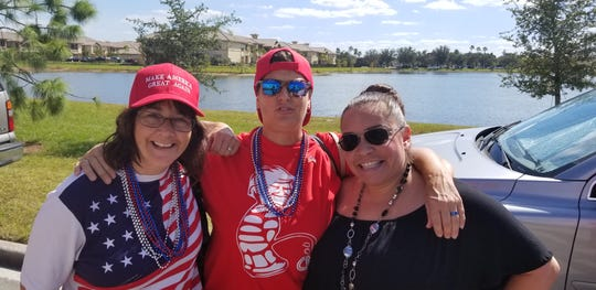 From left, Jeanne Knight of Tampa,  Suzanne Garvin of New York, and Haydee Garvin joined the line to enter Hertz Arena Wednesday, Oct. 31 2018 to hear President Trump. The women say they will be just as happy to participate in the event from outside if they cannot get a seat.