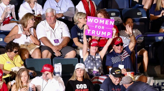 Supporters of Donald Trump start filling in the seats at Hertz Arena at the Make America Great Again rally on Wednesday Oct. 31, 2018.