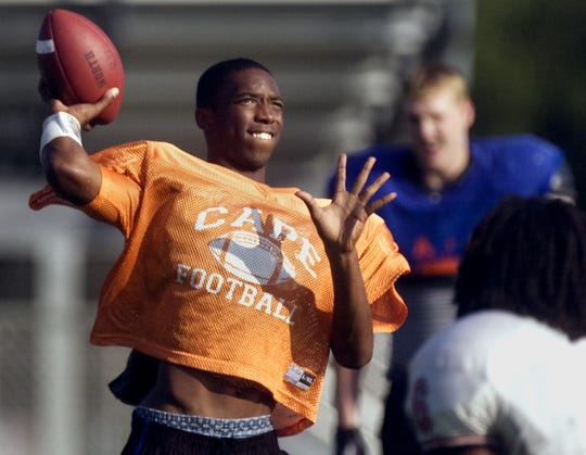 Cape Coral quarterback Jaylen Watkins practices at North Fort Myers High on Monday, Dec. 7, 2009, for the Rotary South John Carrigan All-Star Classic.