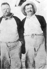 Teddy Roosevelt, left, fishing off Captiva in 1913 with Dr. Russell Coles.