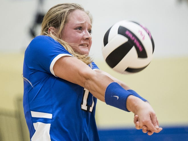 Pickens senior Lexi Wierzbicki, shown in a 2017 match, recorded her 1,000th career kill in the Blue Flame's playoff victory against York Tuesday night.